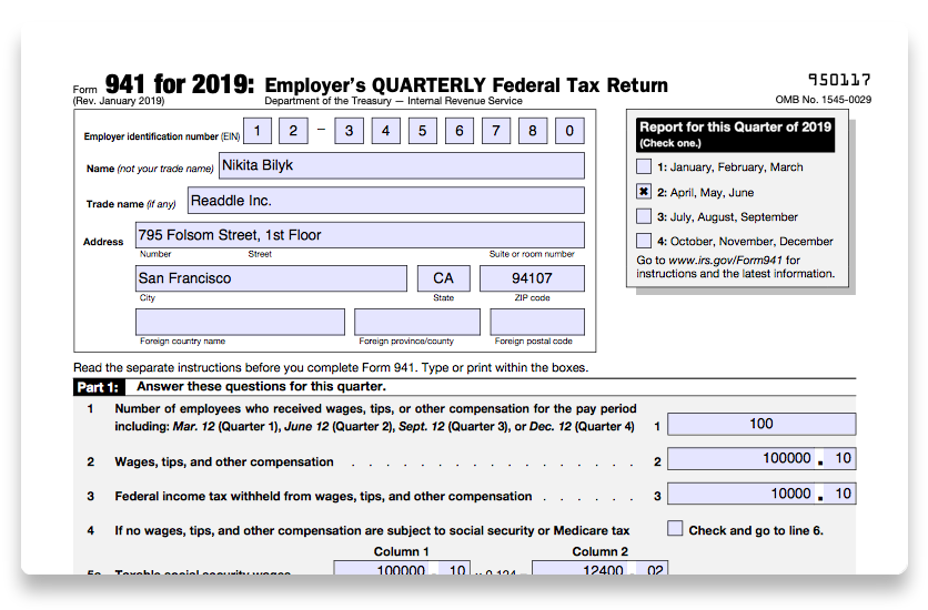941 form irs 2018  How to fill out IRS Form 10 10 | PDF Expert