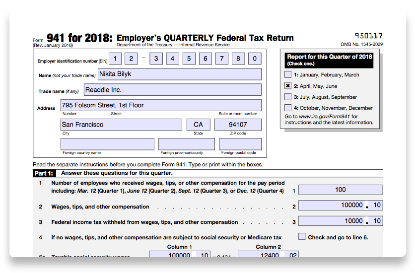 How To Fill Out Irs Form 941 2018 Pdf Expert