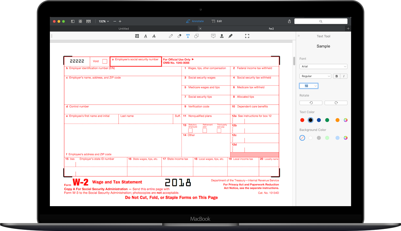 Form W-4 on MacBook