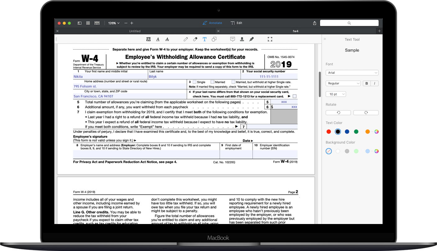 How to fill out 2018-2019 IRS Form W-4 | PDF Expert