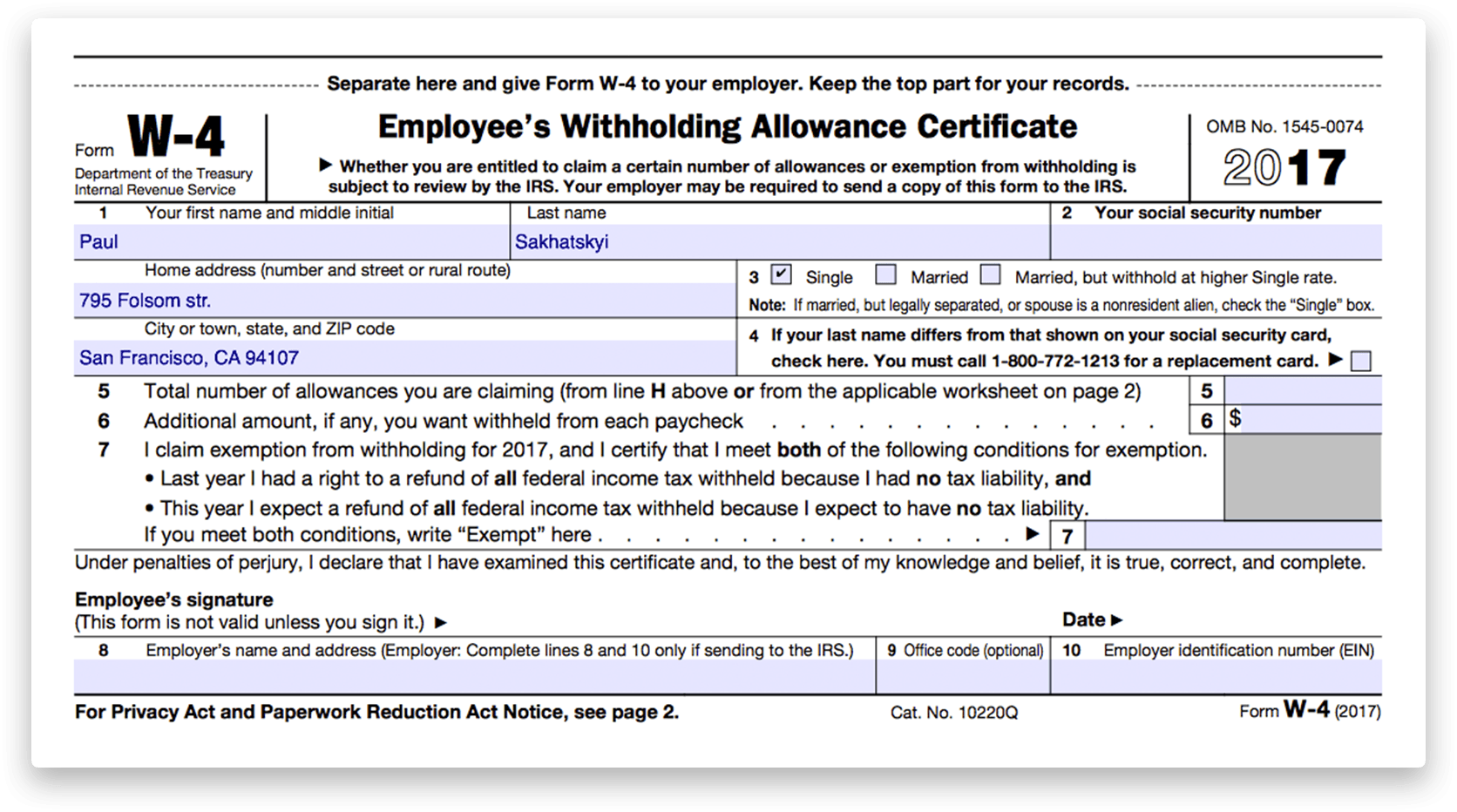How to fill out IRS Form W9 20142017 – W4 Worksheet