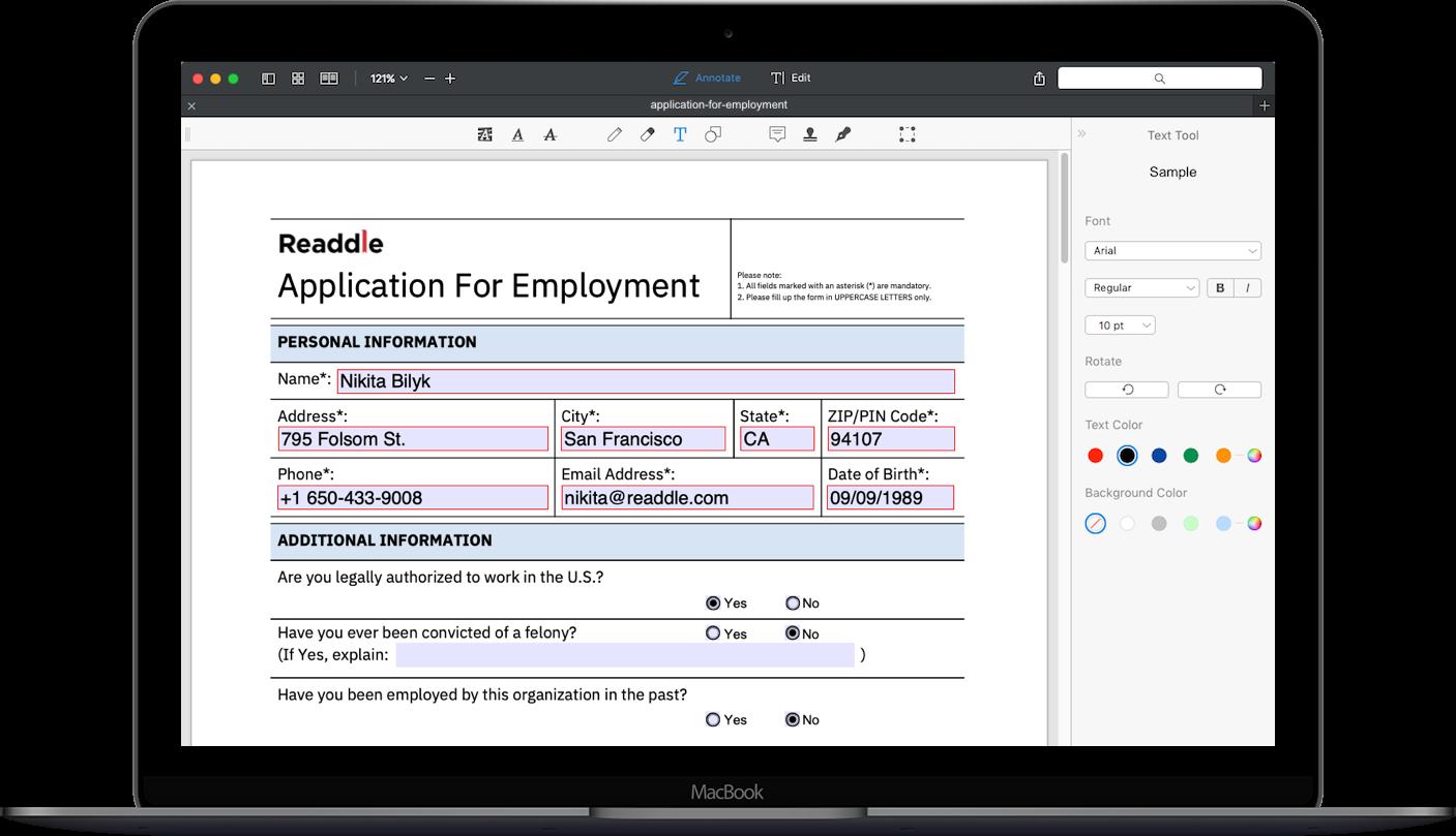 Application for Employment PDF   Job Application Form Sample