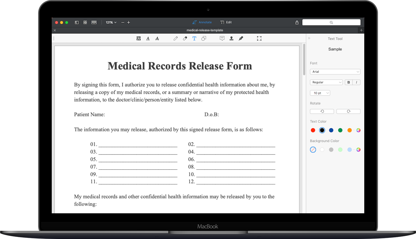 Medical Records Request Form | Medical Records Release Form